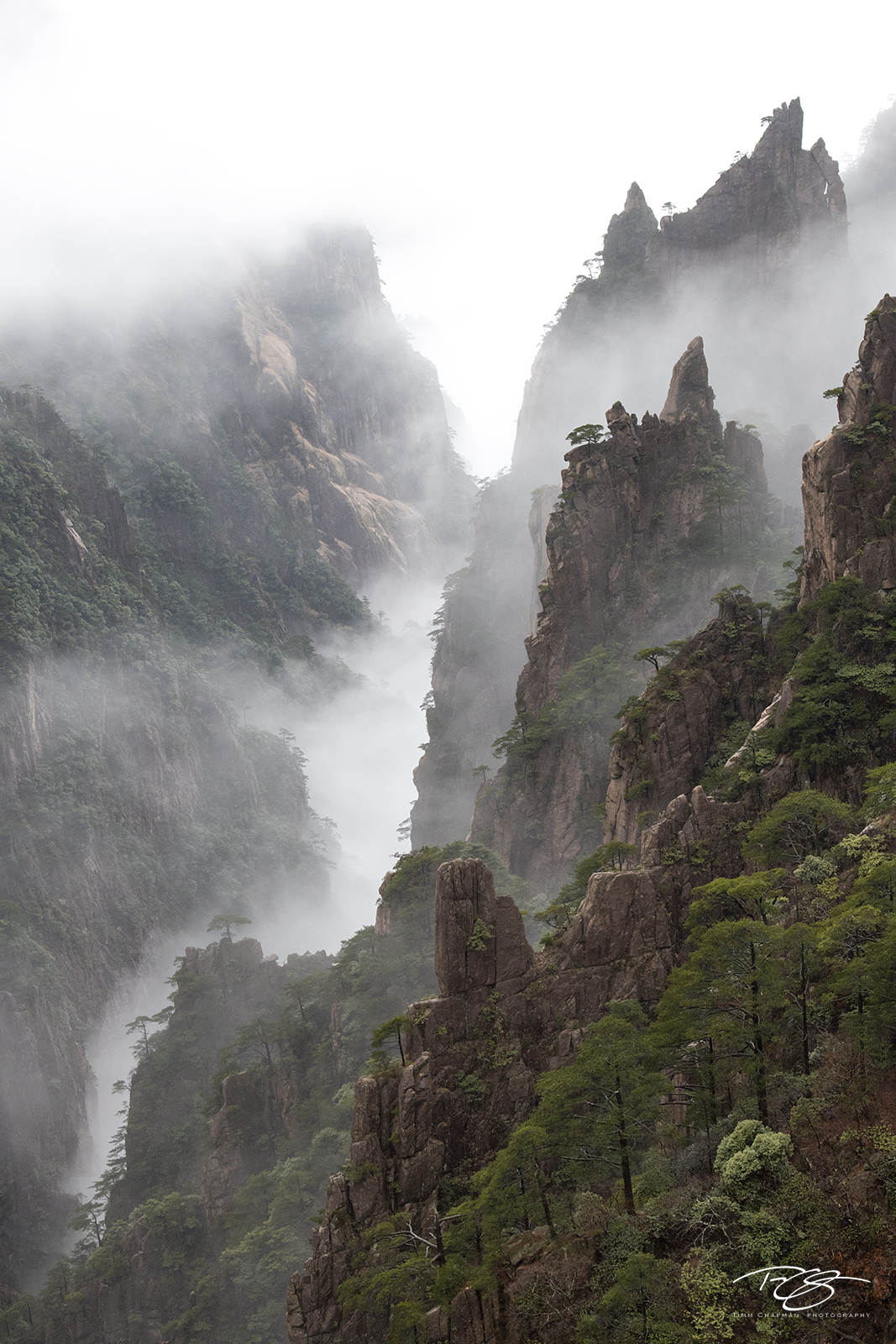 Mist slowly dissipates to unveil the valley surrounding the Huangshan Mountains