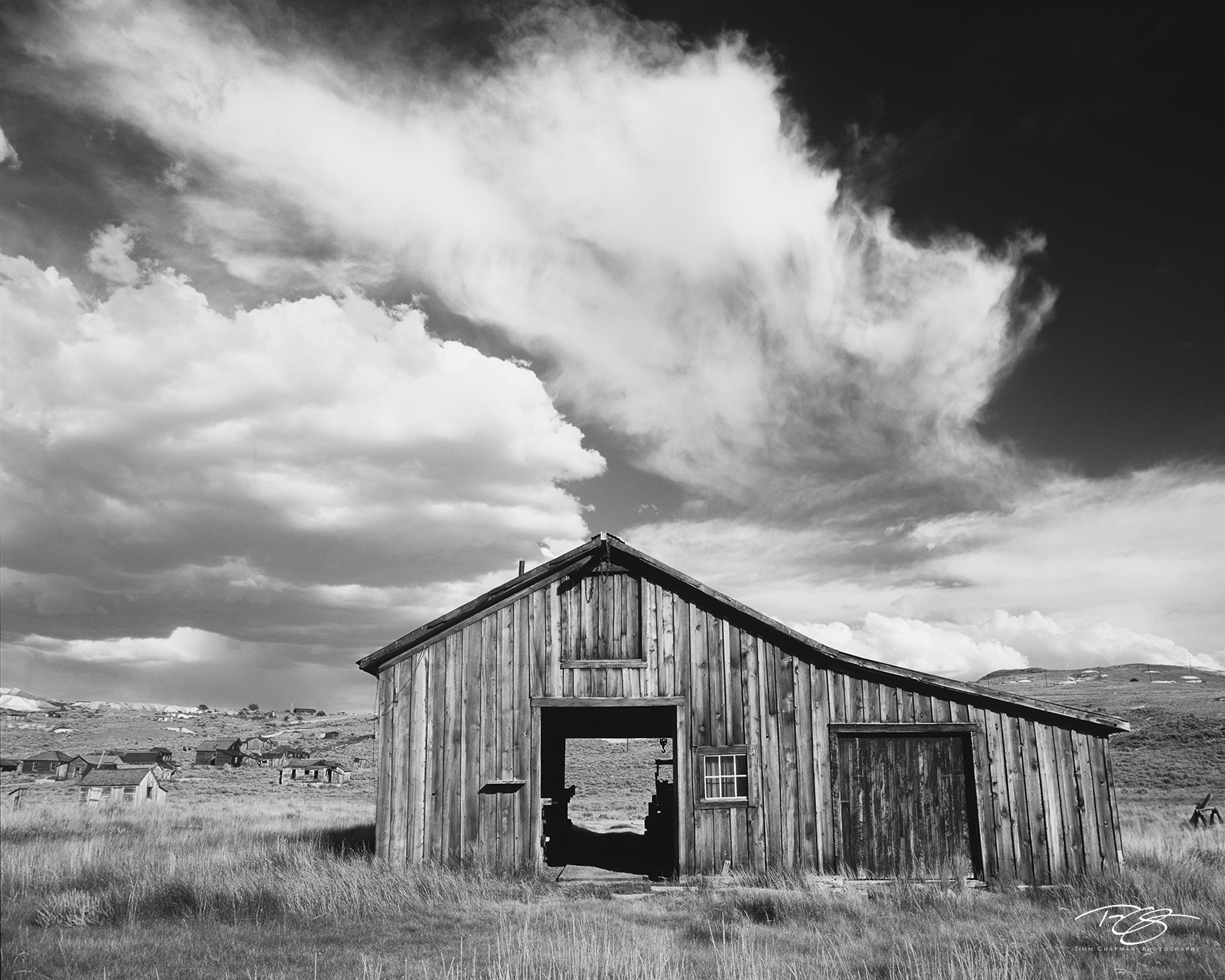 Bodie, California, old barn, storm clouds, derelict, building, carriage house, restoration, ghost town, derelict building, dramatic sky, storm clouds, tornado, photo